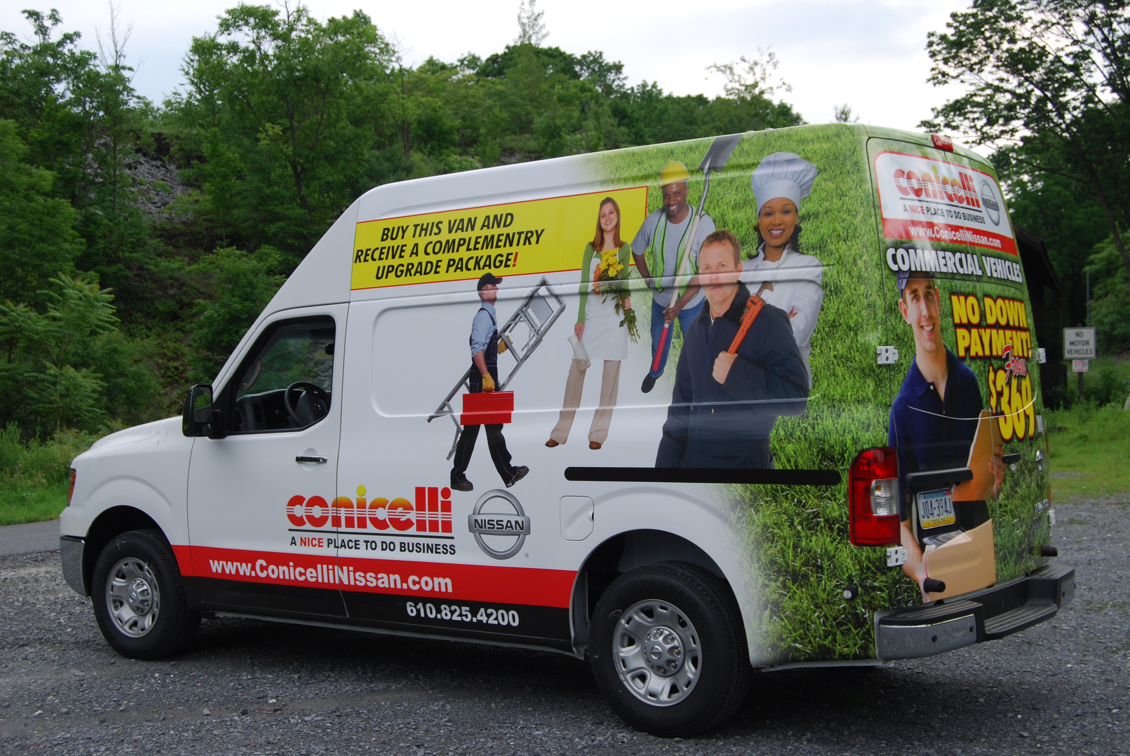 Conicelli Nissan Cargo Wrap Advertising For Large Auto