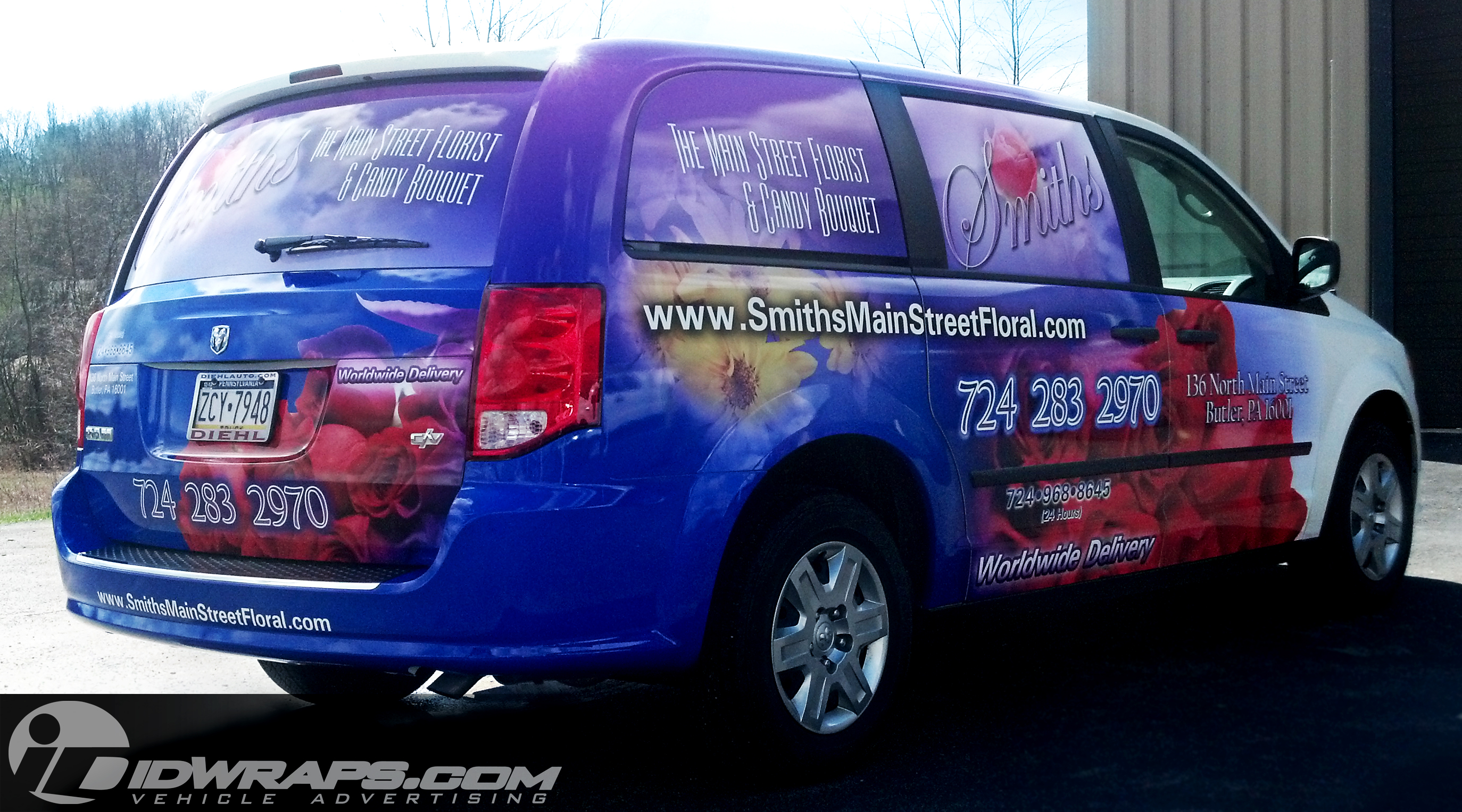 Features 3m Van Car Wrap For Flower Delivery Shop In Butler