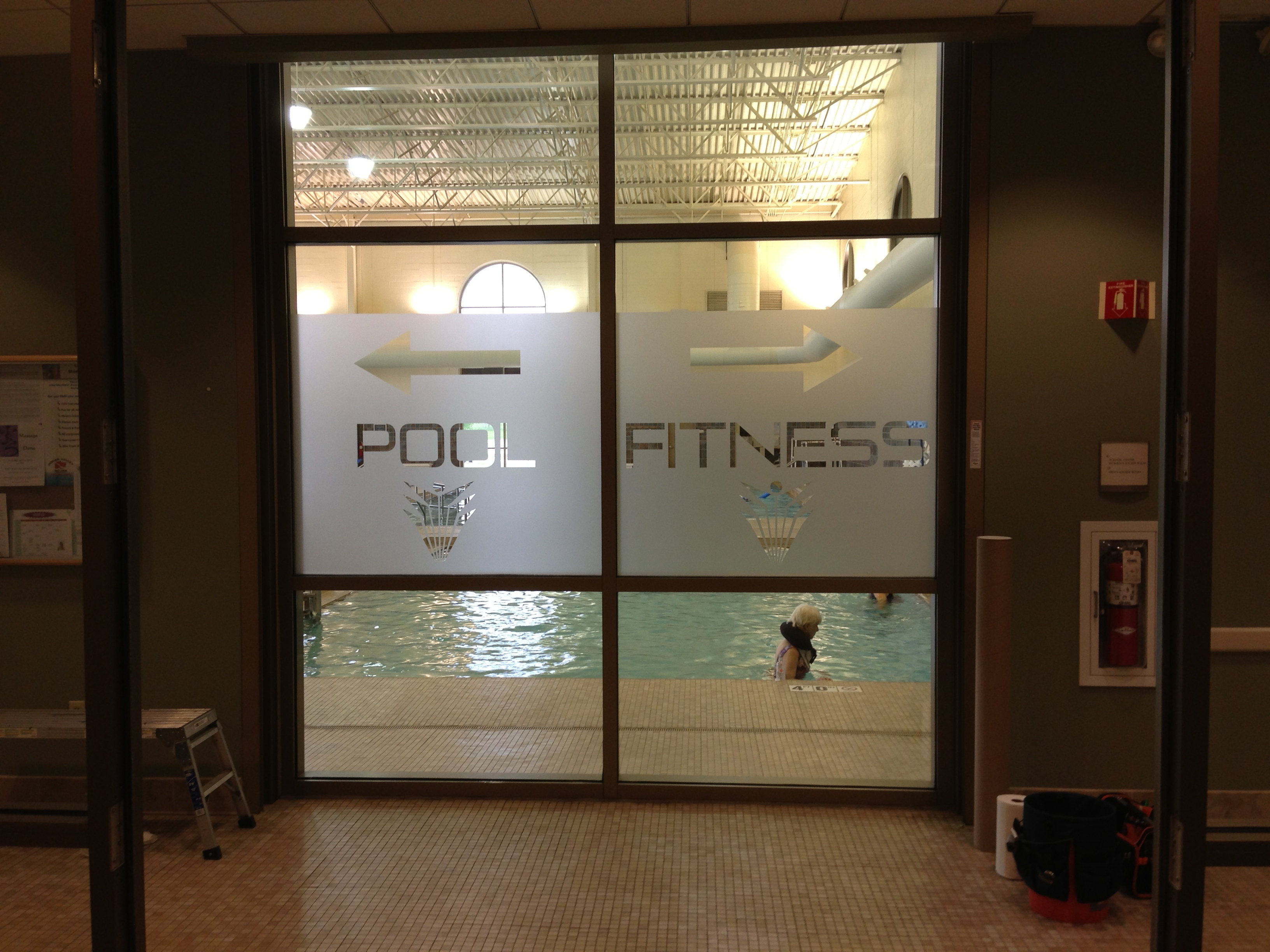 M Etched Frosted Vinyl Window Graphic For Fitness Center - Vinyl etched glass window decals