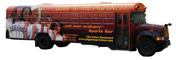 PigPen Sports Bar School Bus Wrap