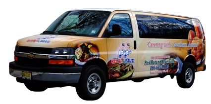 Red Hot and Blue Chevy Express Van Wrap