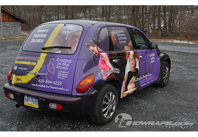 knitted-in-the-womb-steves-painting-service-pt-cruiser-wrap