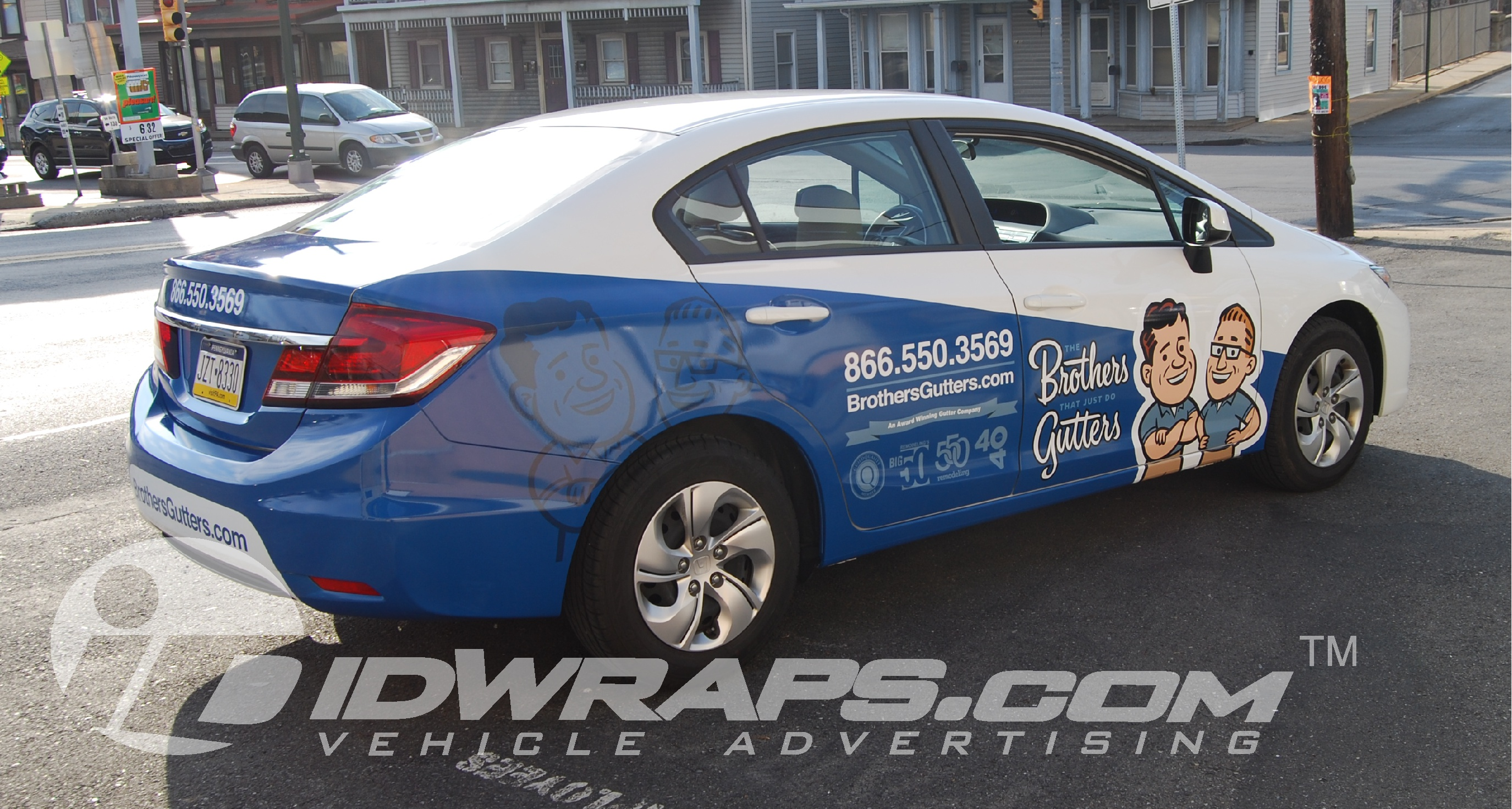 brothers-gutters-honda-civic-3m-vinyl-partial-graphic-wrap
