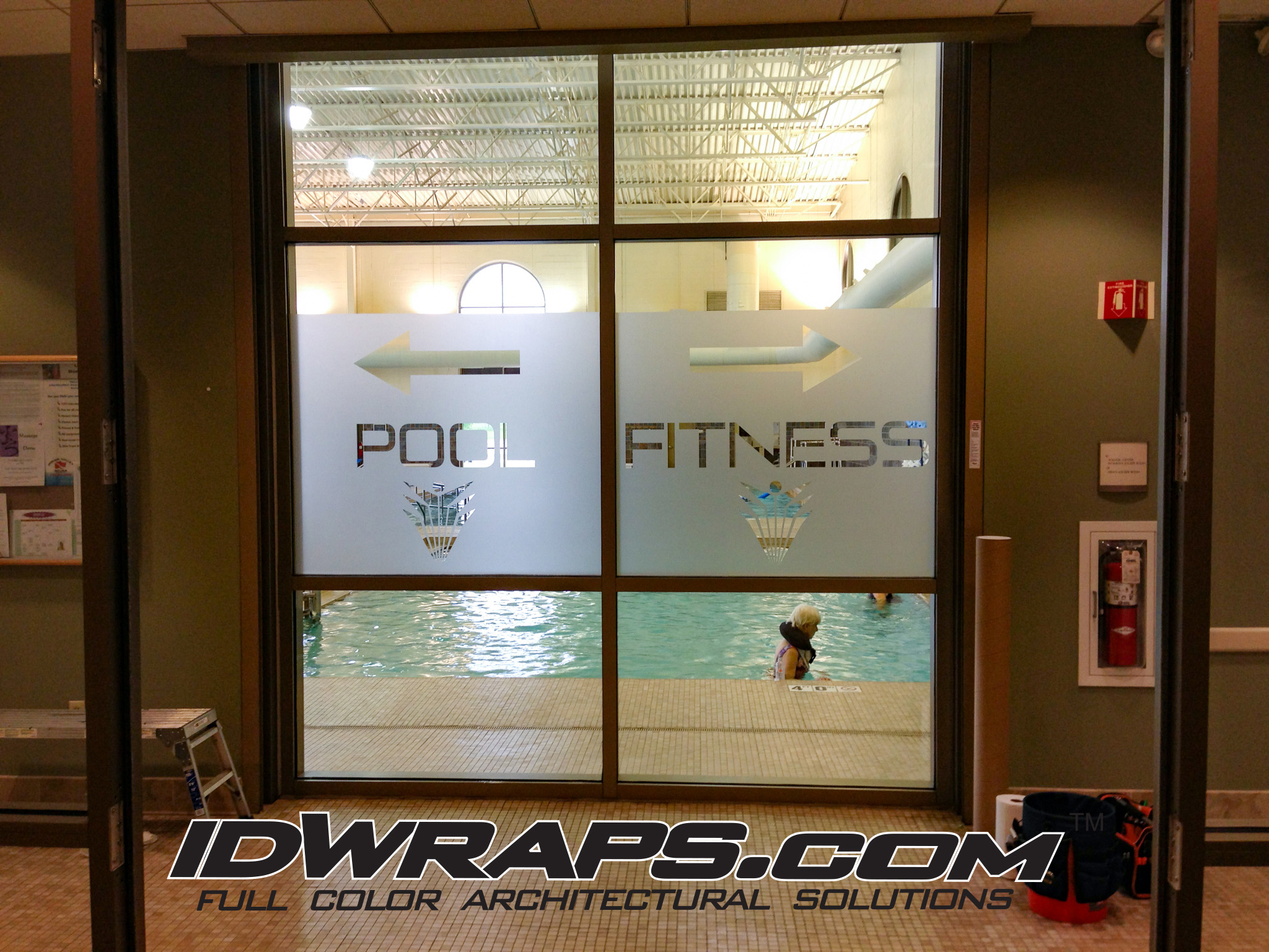 Steel Fitness 3M Vinyl Frosted Window Graphic Installation