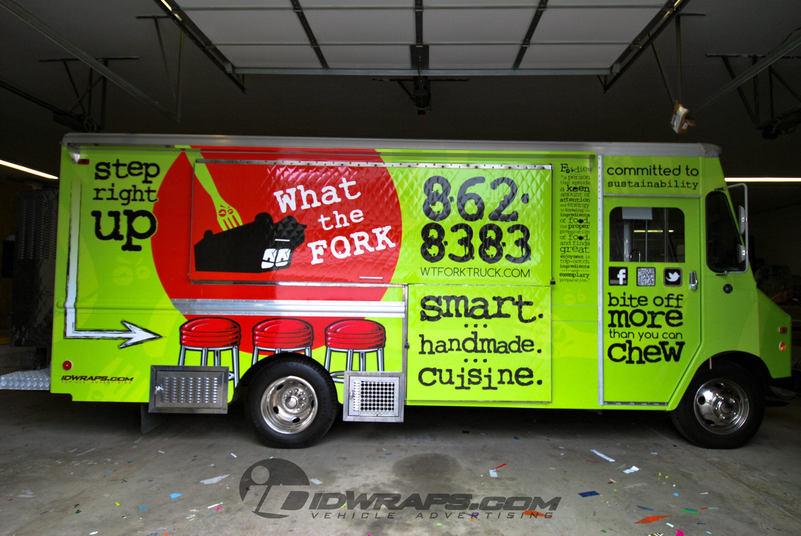 What The Fork Food Truck 3M Vinyl Advertising Wrap